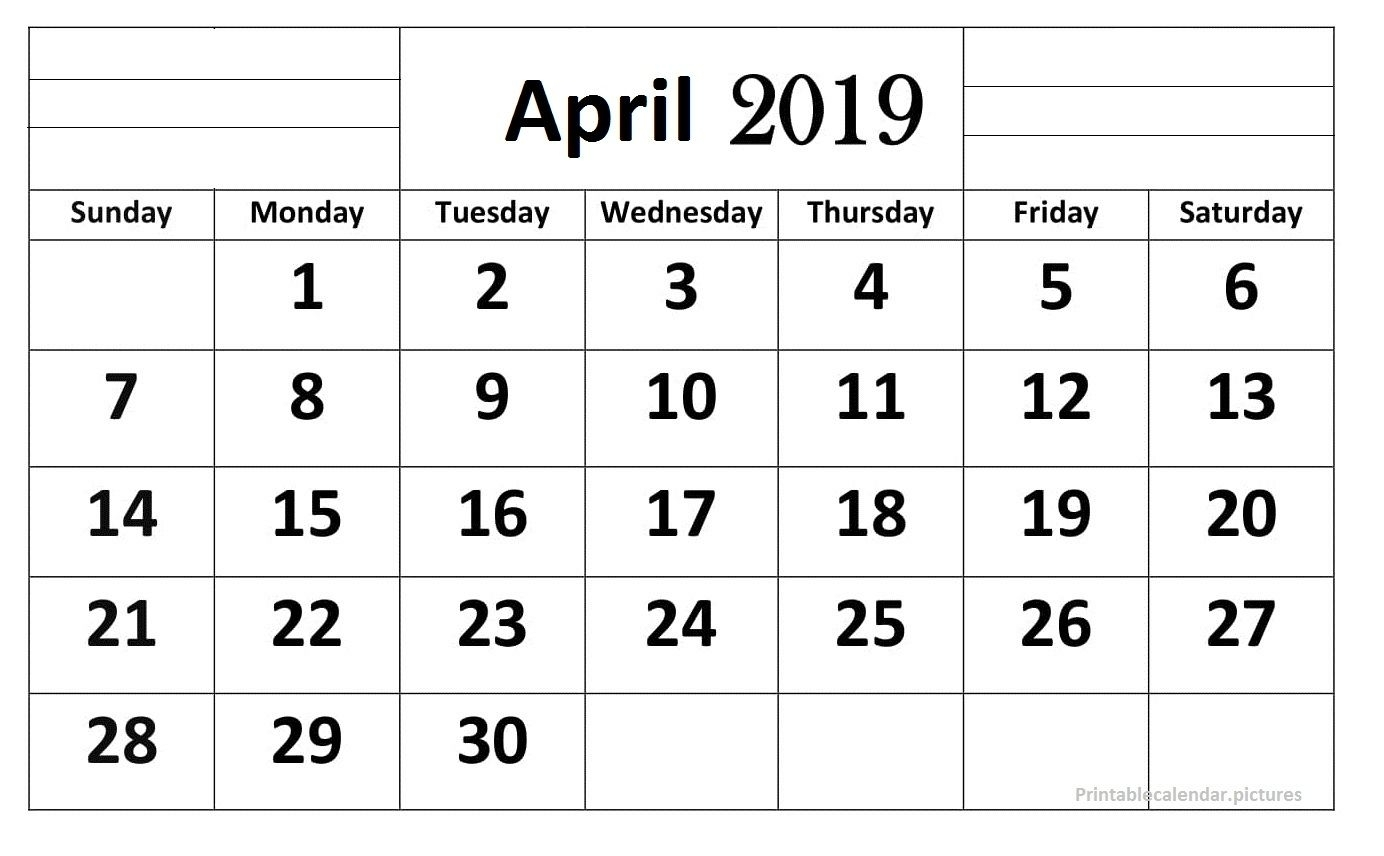 April 2019 Calendar Printable Large Print | 2019 Calendar