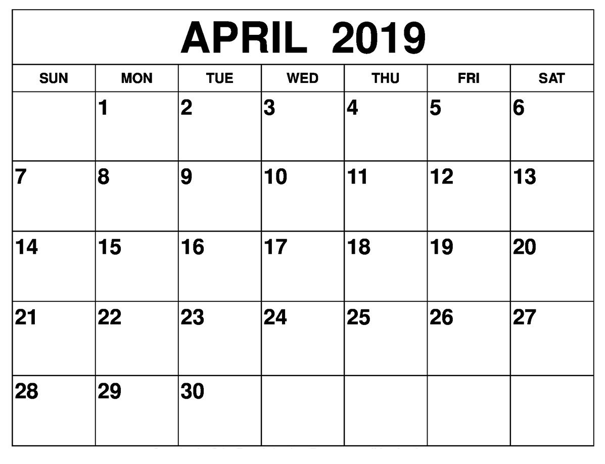 April 2019 Calendar Template Large Print | Printable