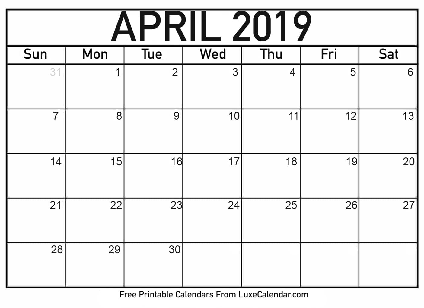 April 2019 Calendar Word - Printable Calendar 2019| Blank