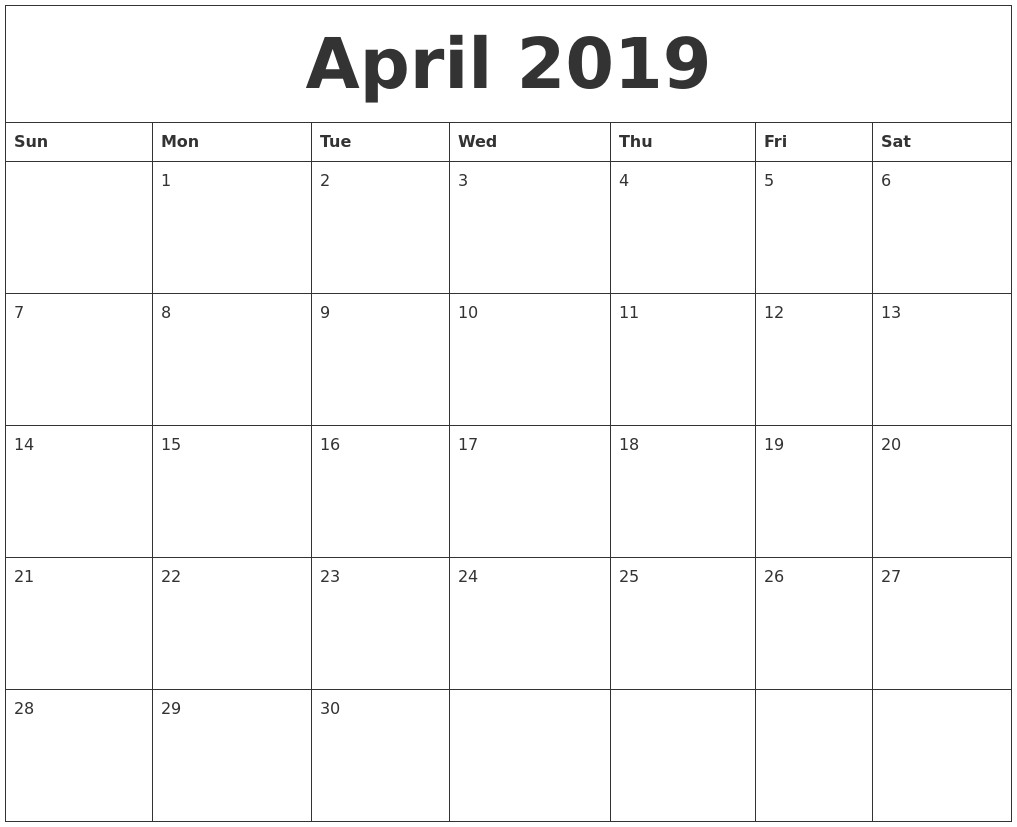 April 2019 Printable Calendar Templates - Free Blank