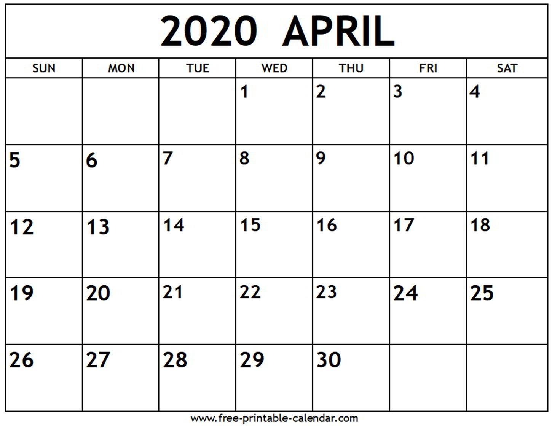 April 2020 Calendar - Free-Printable-Calendar