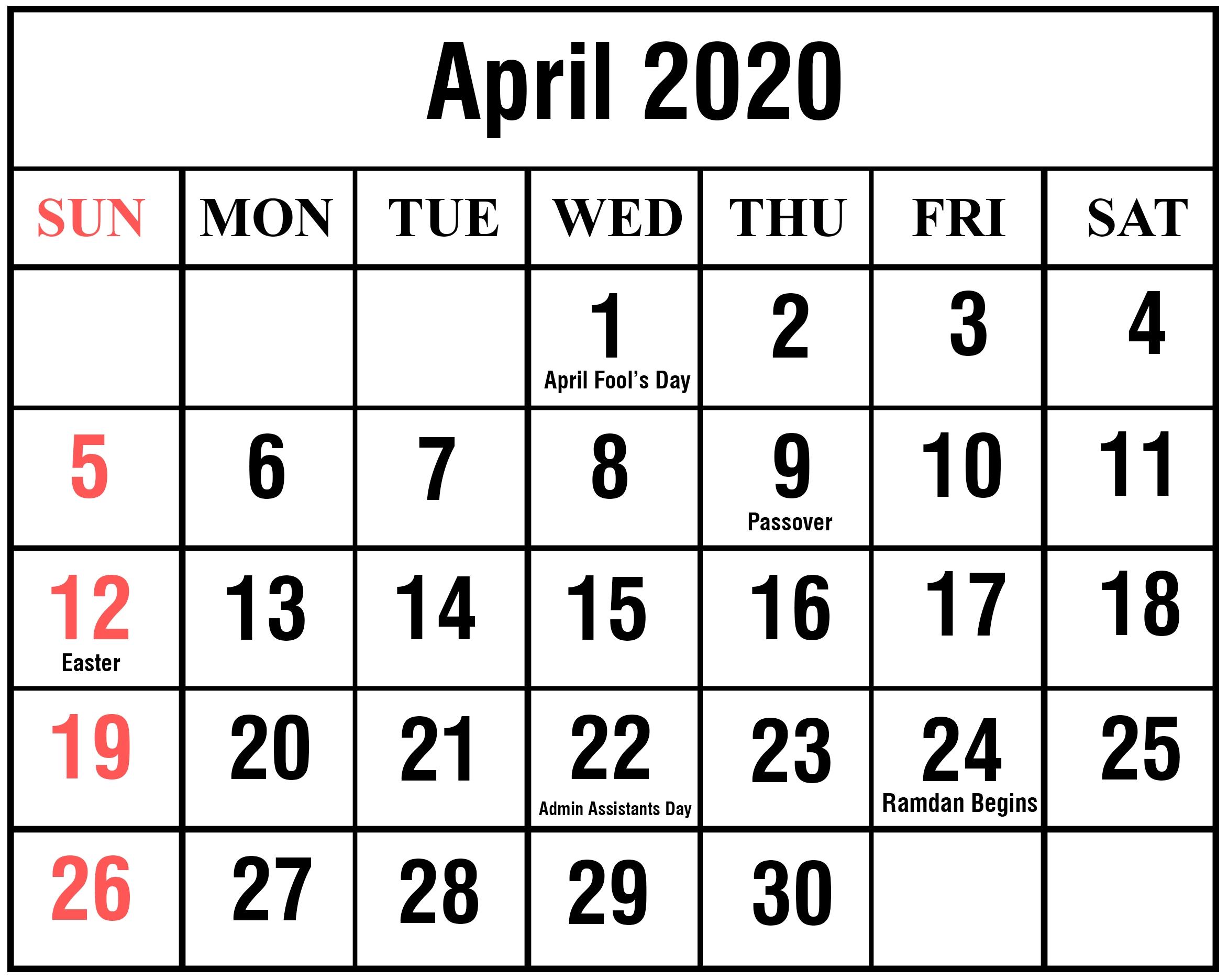 April 2020 Calendar | Printable April Calendar Template