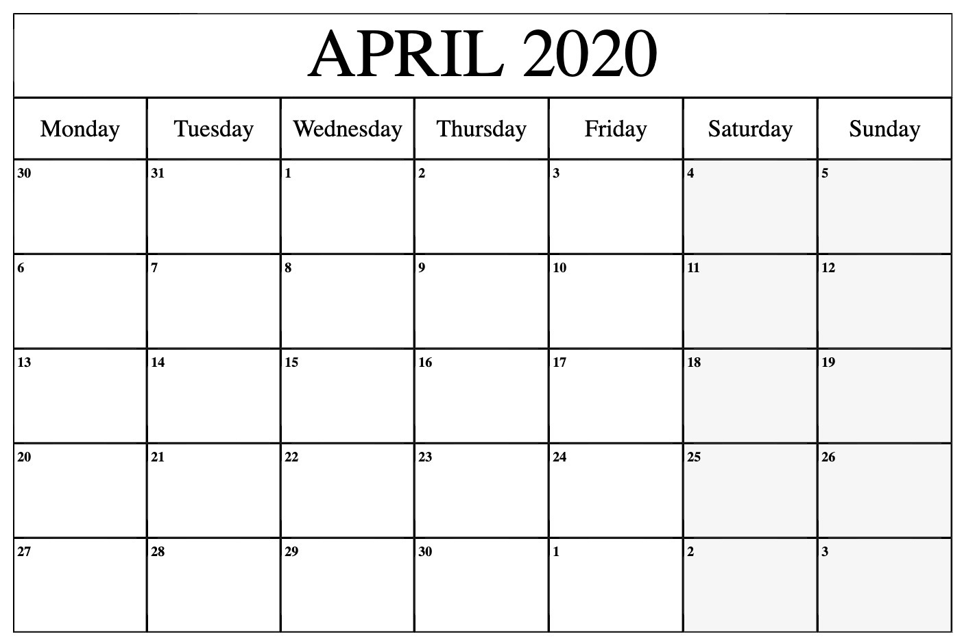 April 2020 Calendar Printable Blank Template Pdf Word Excel