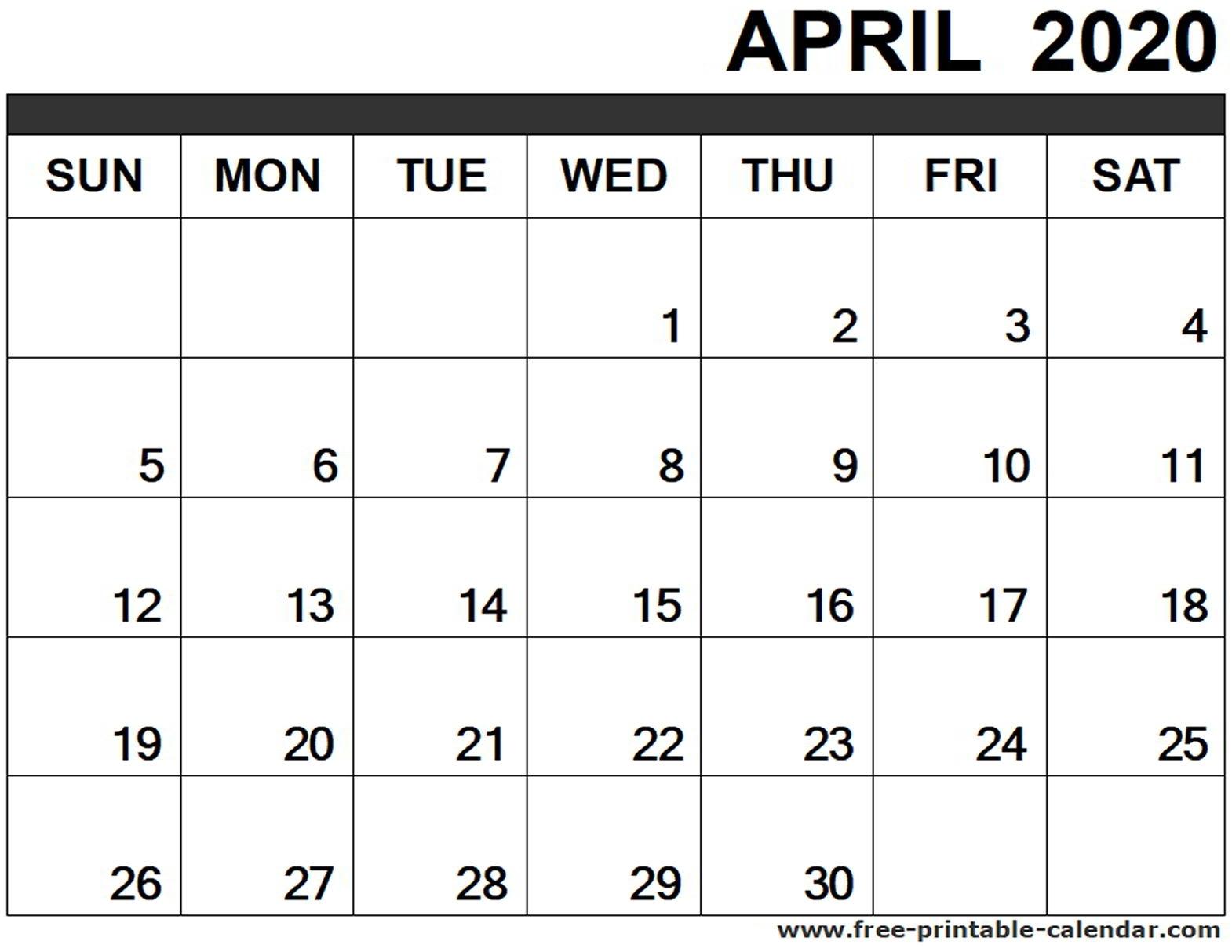 April 2020 Calendar Printable - Free-Printable-Calendar