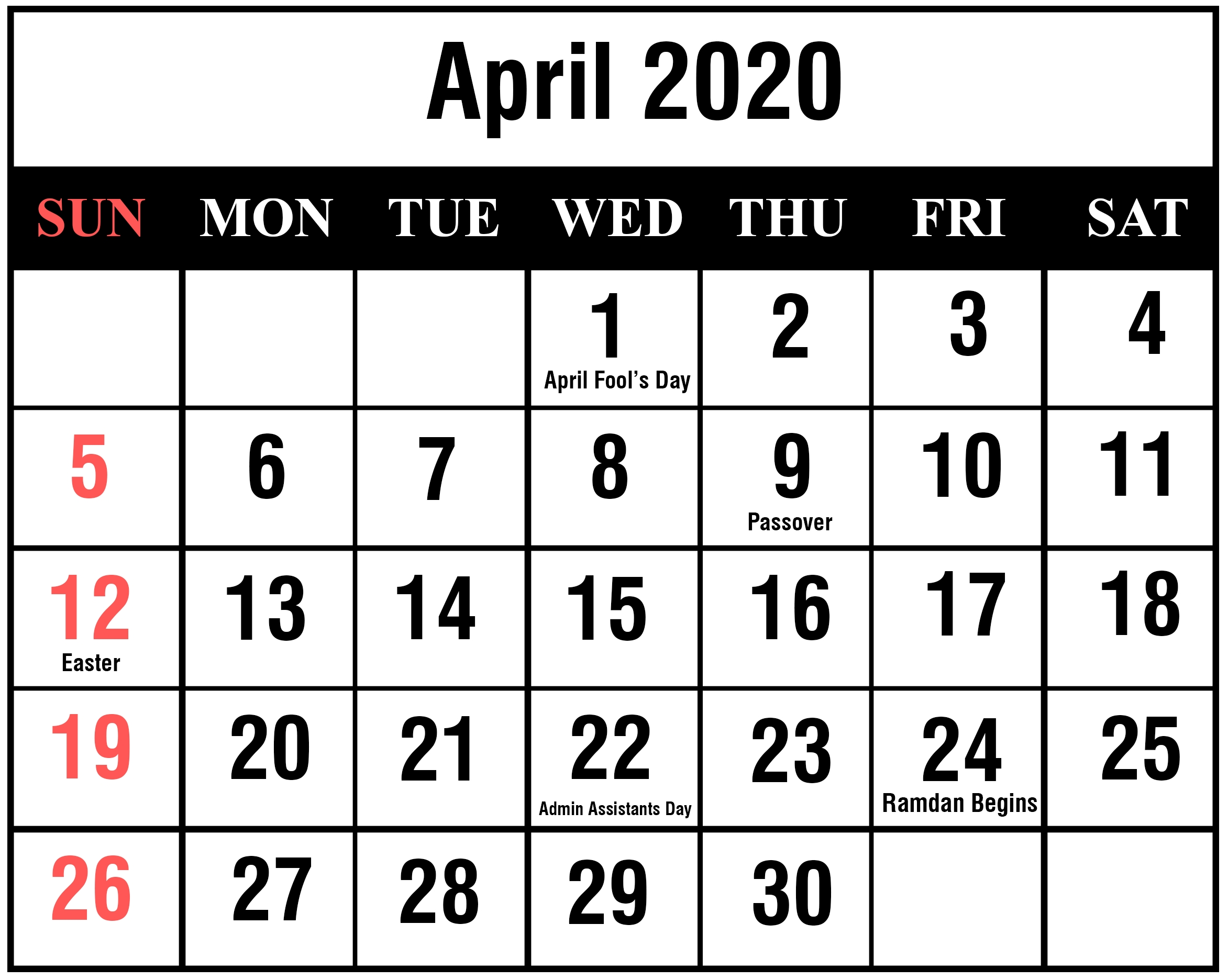 April 2020 Calendar Printable Template Blank Editable Word