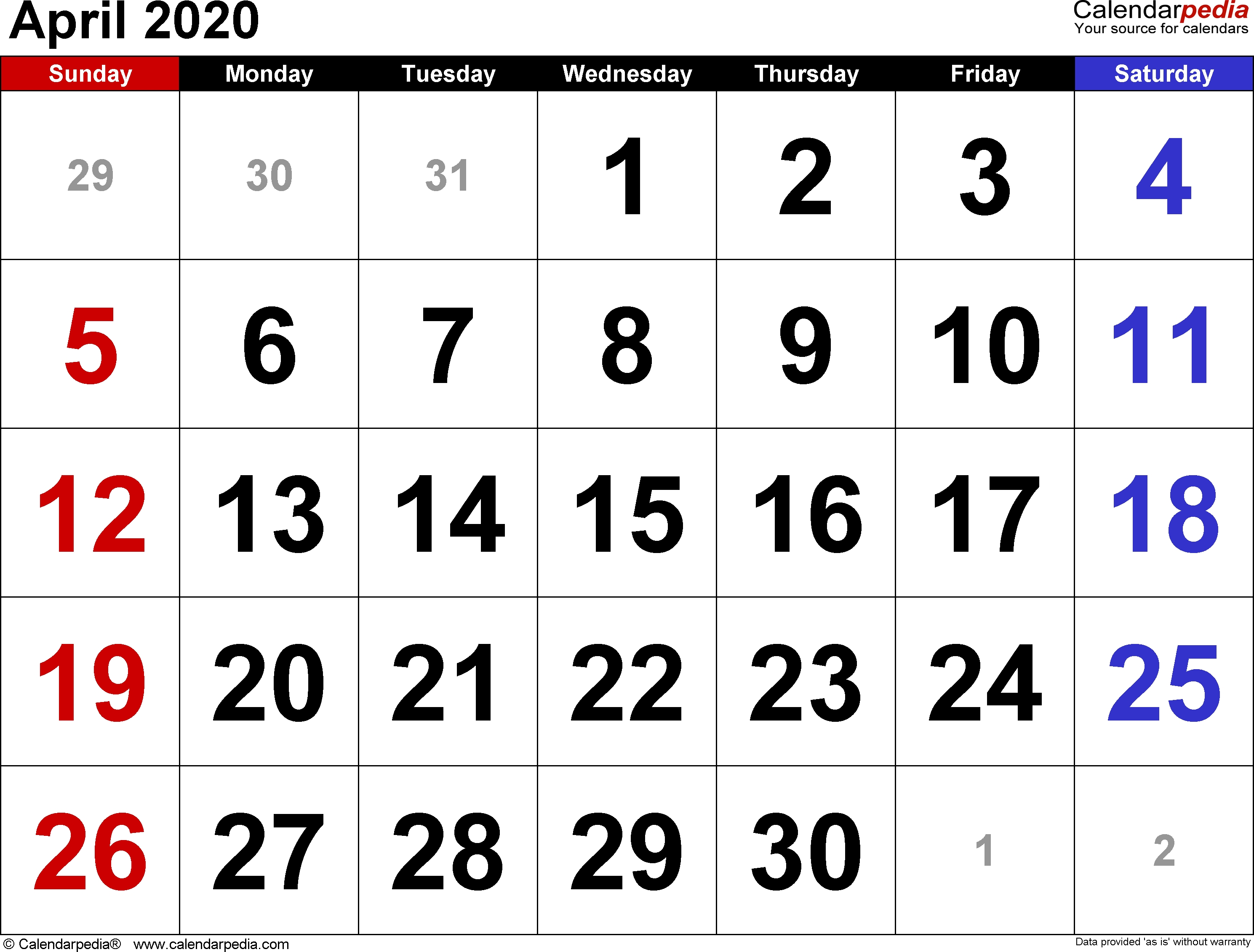 April 2020 Calendars For Word, Excel & Pdf