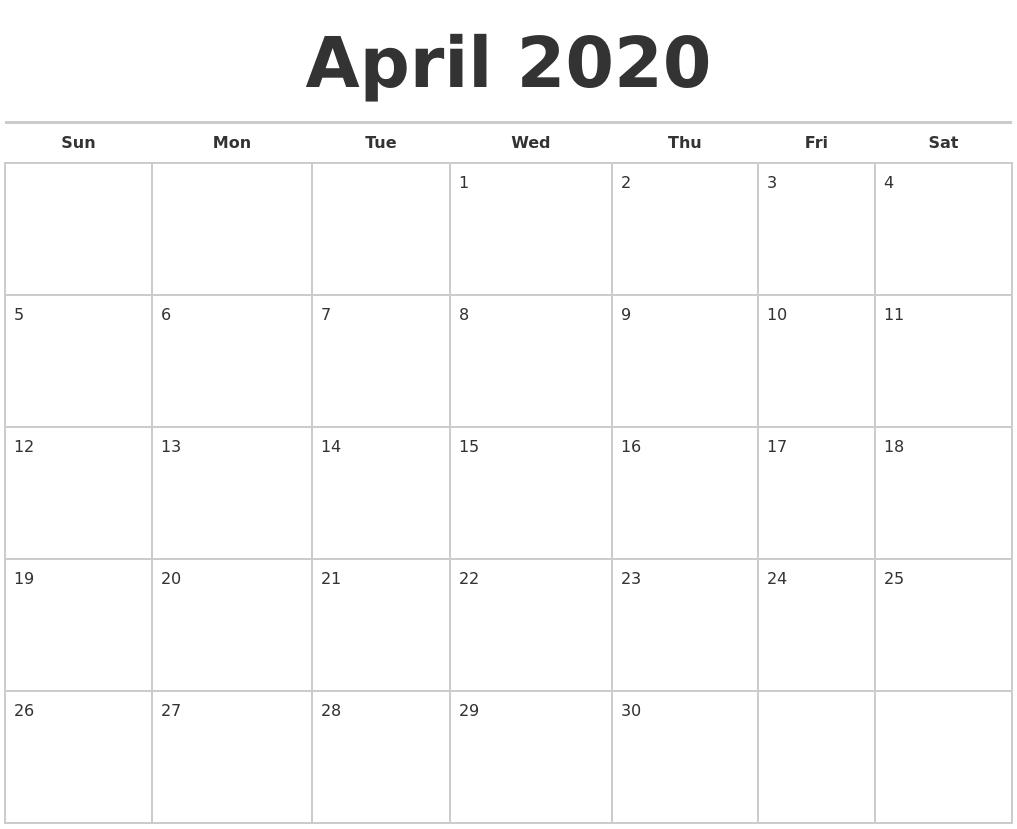 April 2020 Calendars Free