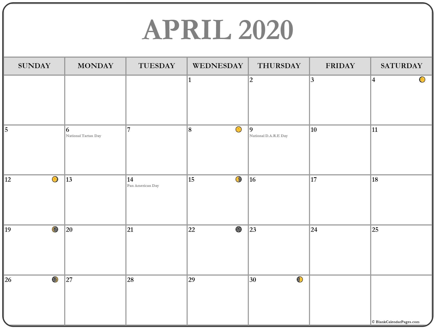 April 2020 Lunar Calendar | Moon Phase Calendar