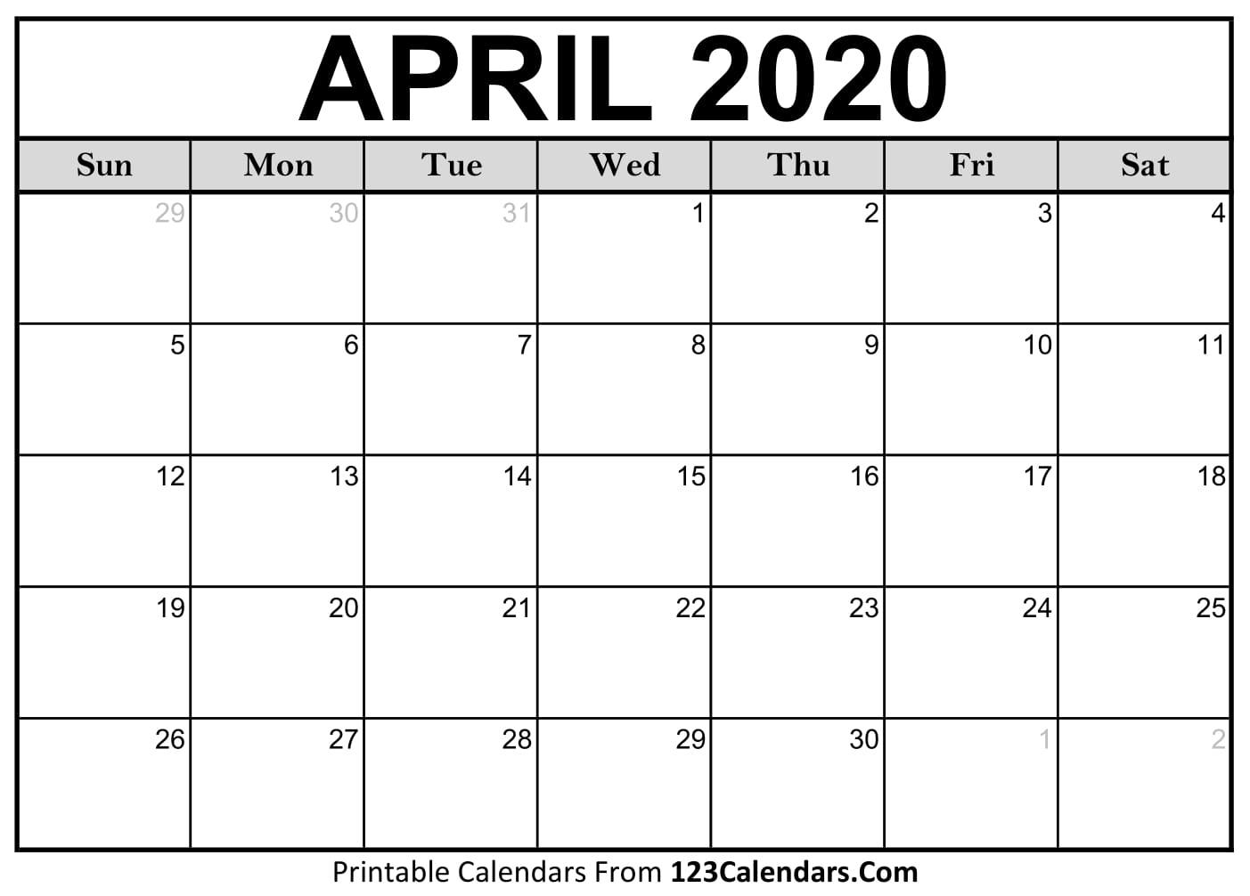 April 2020 Printable Calendar   123Calendars