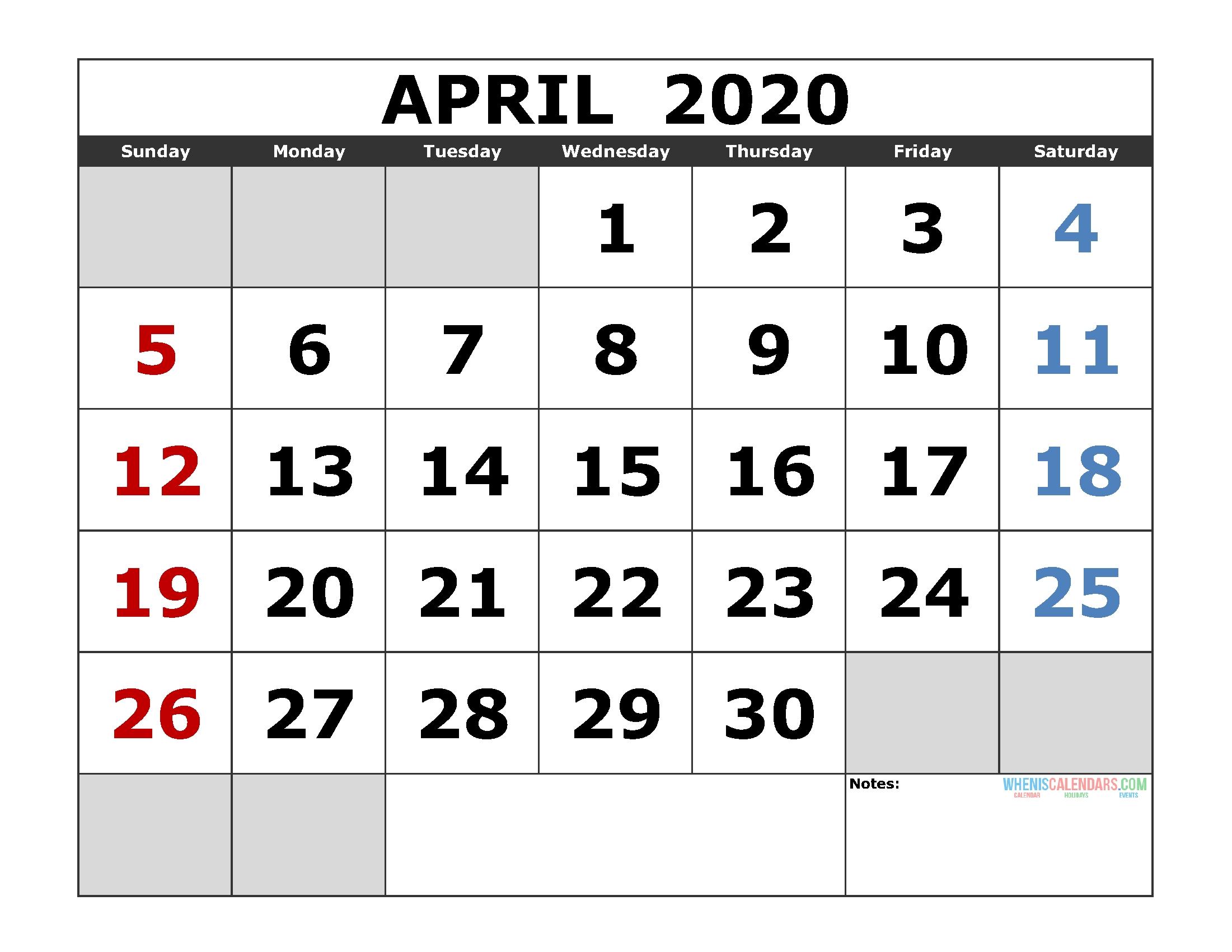 April 2020 Printable Calendar Template Excel, Pdf, Image [Us