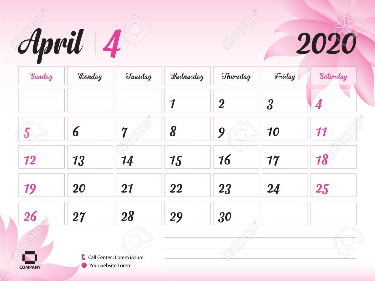 April 2020 Year Template, Calendar 2020, Desk Calendar Design,..