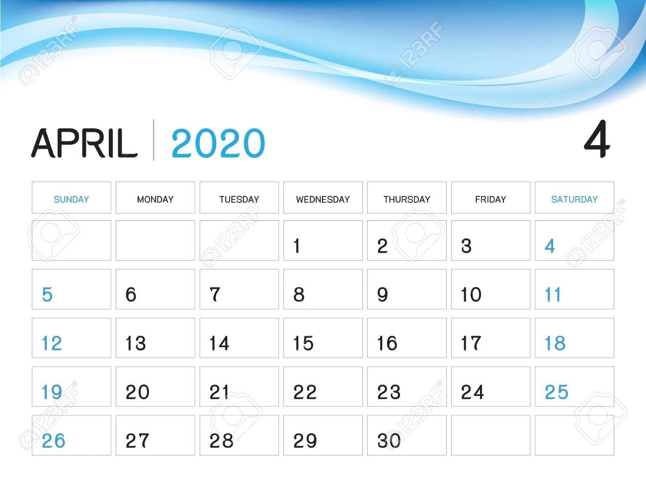 April 2020 Year Template, Calendar 2020 Vector, Desk Calendar..