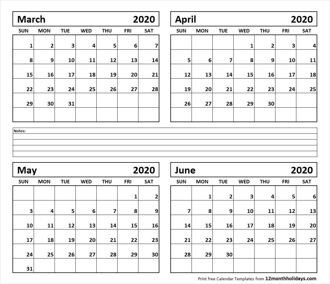 April May June 2020 Calendar | Gallery Of Calendar Printable