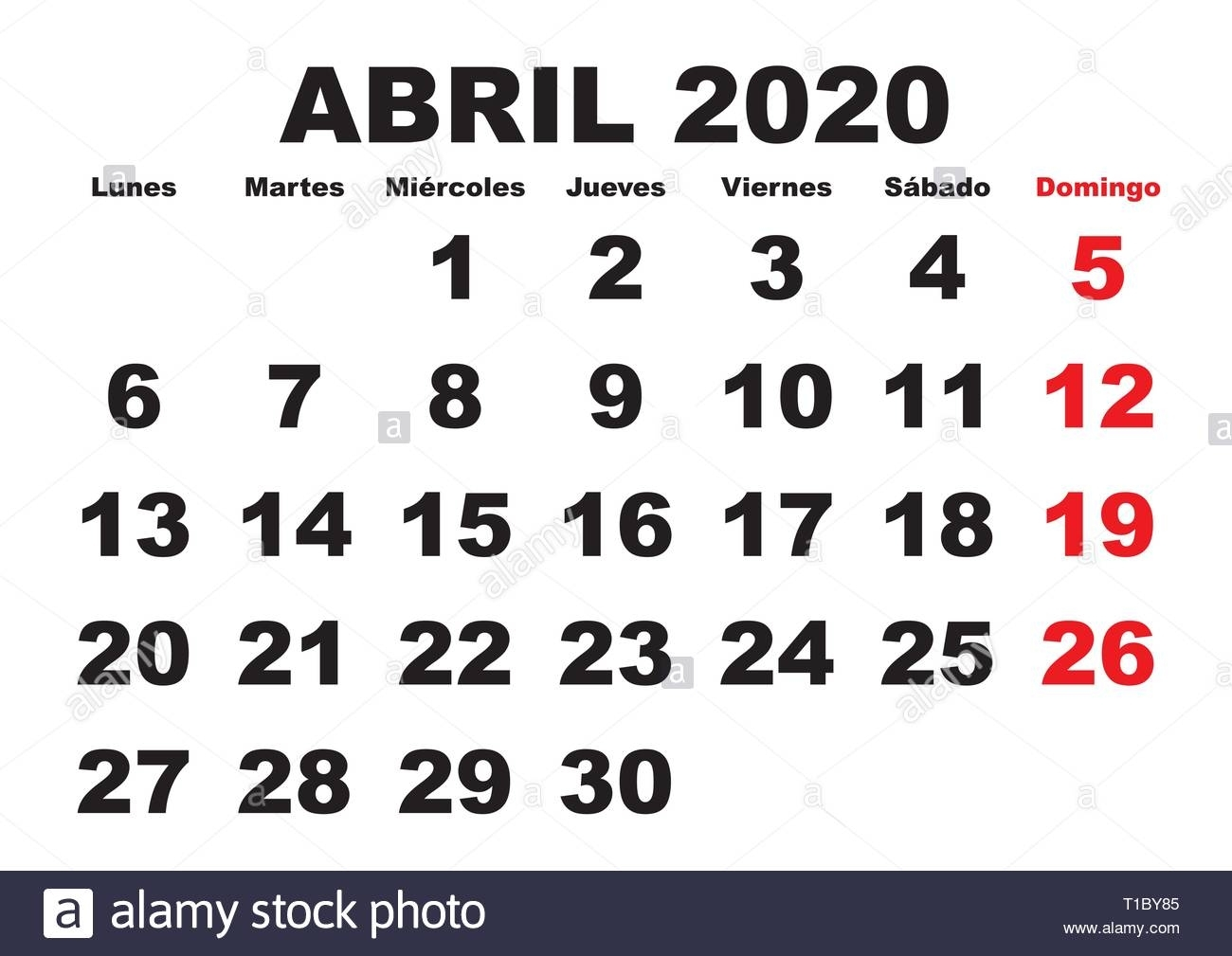 April Month In A Year 2020 Wall Calendar In Spanish. Abril