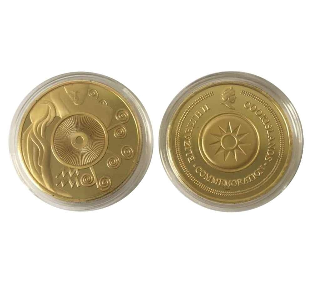 Aquarius Signs Of The Zodiac Horoscope Poker Card Guard Coin Gold Plated New