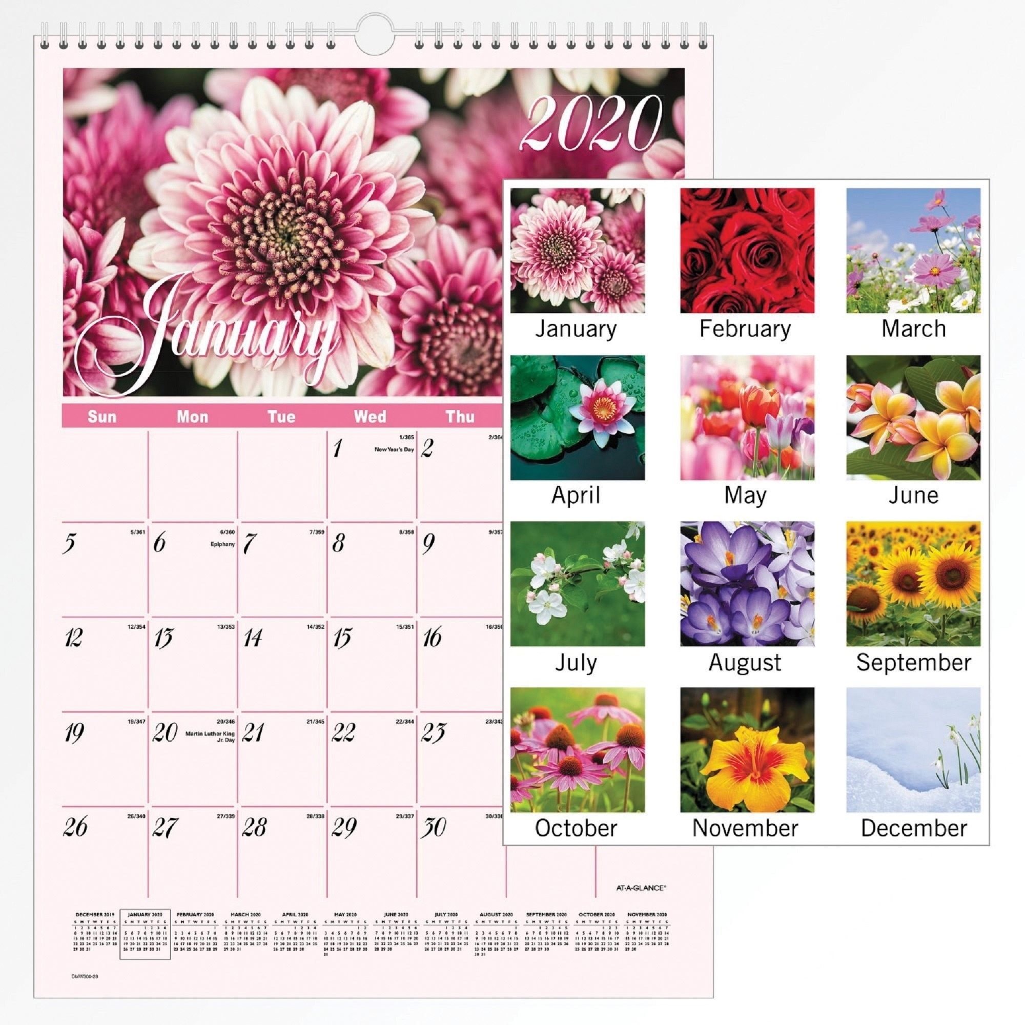 At-A-Glance Flower Garden Monthly Wall Calendar - Monthly - 1 Year -  January 2020 Till December 2020 - 1 Month Single Page Layout - 12 X 17 -  Wall