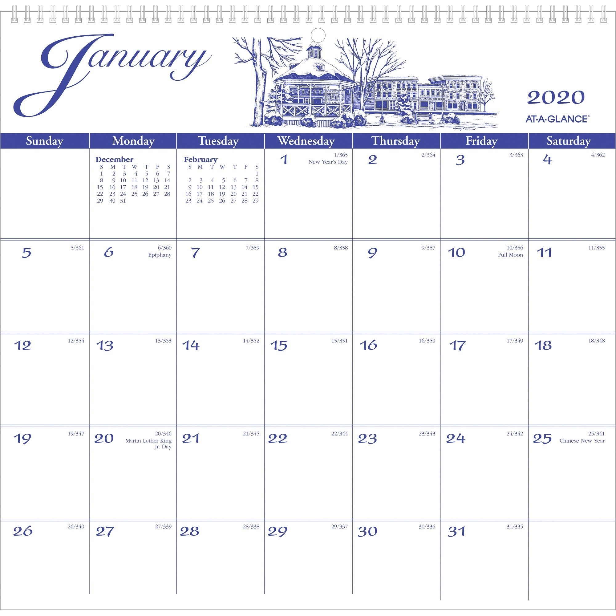 At-A-Glance Illustrators Edition Monthly Wall Calendar - Yes - Monthly - 1  Year - January 2020 Till December 2020 - 1 Month Single Page Layout - 11
