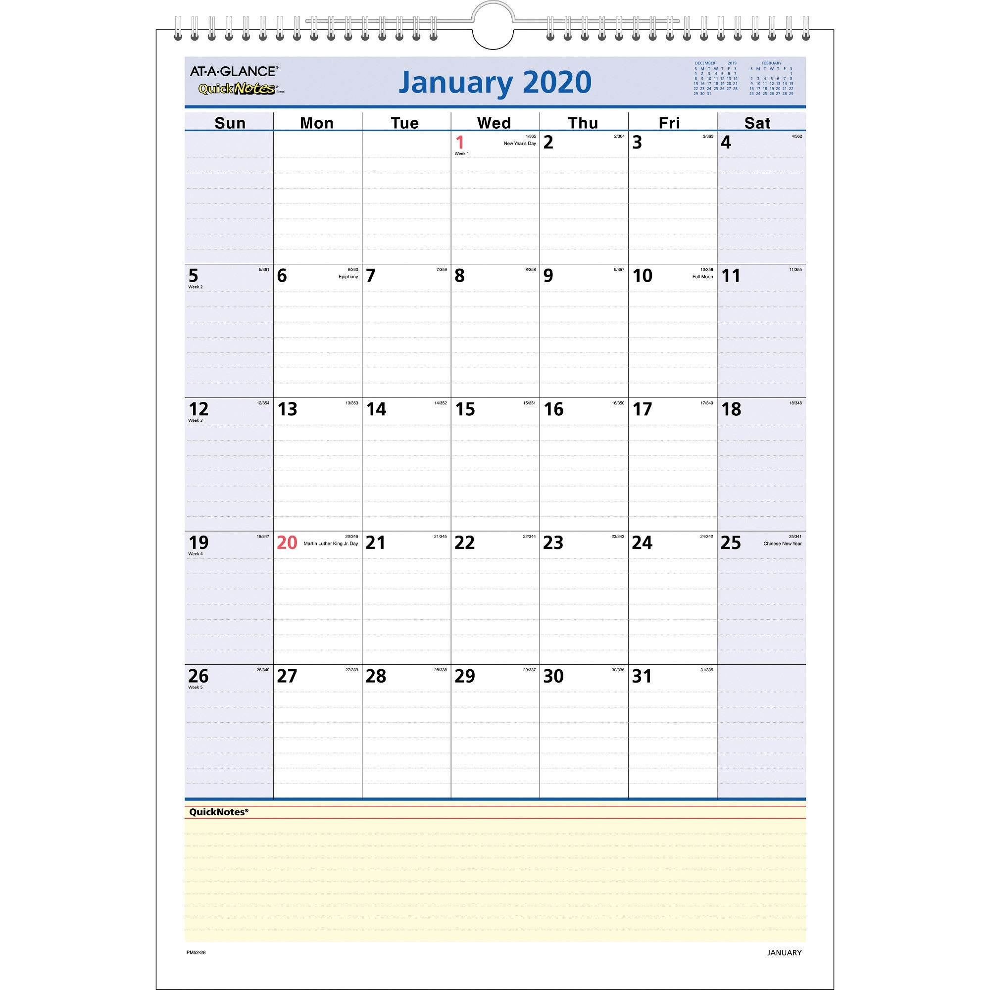 At-A-Glance Quicknotes Monthly Wall Calendar - Yes - Monthly
