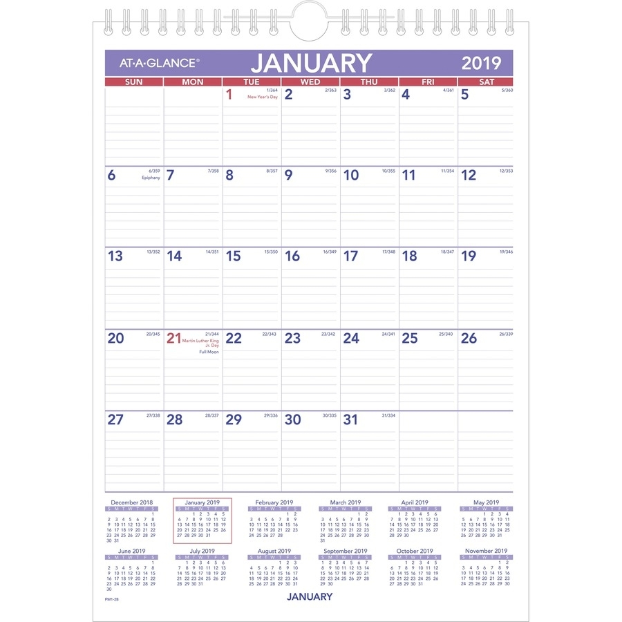"At-A-Glance Recycled Monthly Wall Calendar - Yes - Monthly - 1 Year -  January 2020 Till December 2020 - 1 Month Single Page Layout - 8"" X 11"" -  Wire"