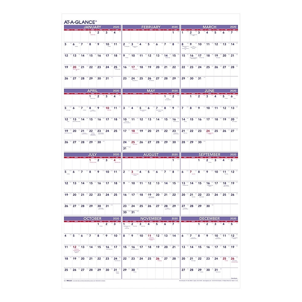 """At-A-Glance® Yearly Wall Calendar, 24"""" X 36"""", January To December 2020,  Pm1228"""