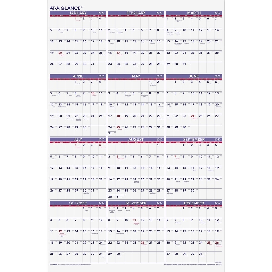 """At-A-Glance Yearly Wall Calendar - Yes - Yearly - 1 Year - January 2020  Till December 2020 - 1 Year Single Page Layout - 24"""" X 36"""" - Metal Bound -"""