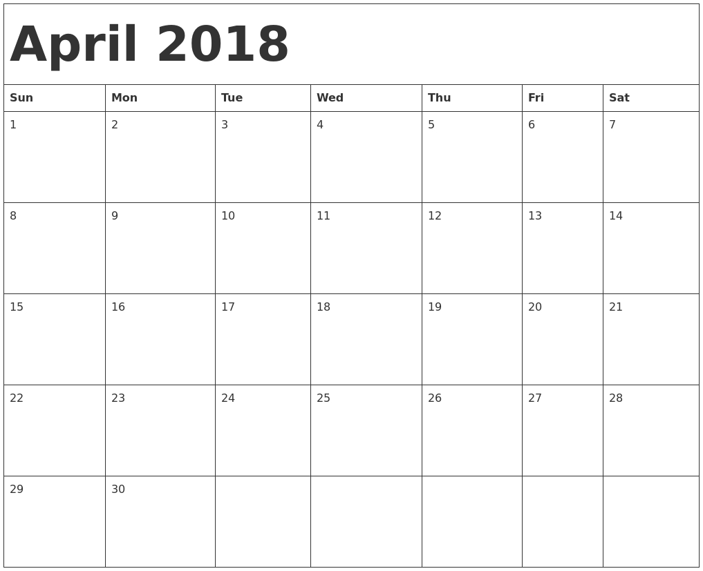 August 2018 Bank Holidays — April Calendar Printable
