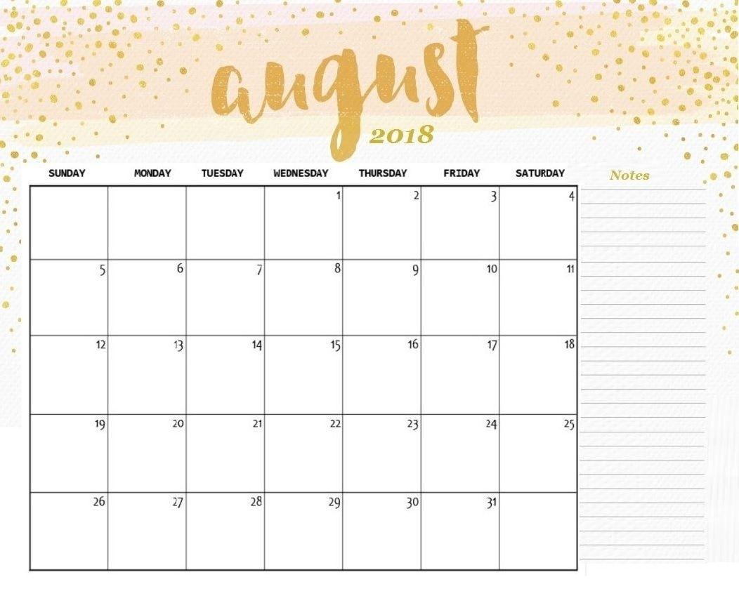 August 2018 Calendar Editable   2018 Printable Calendar