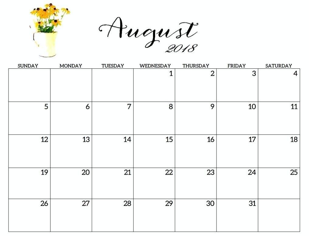 August 2018 Calendar Printable Free For Timeline
