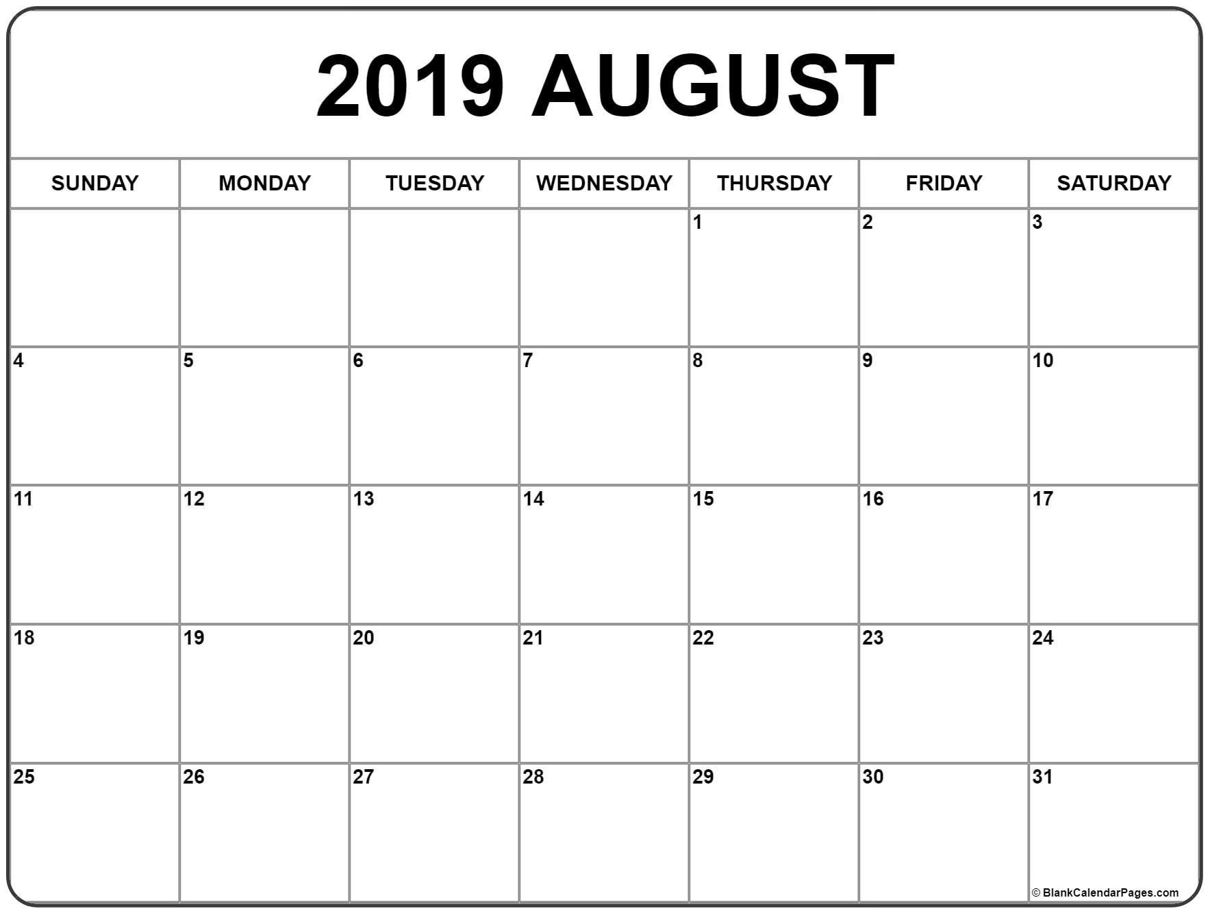 August 2019 Calendar | Free Printable Monthly Calendars
