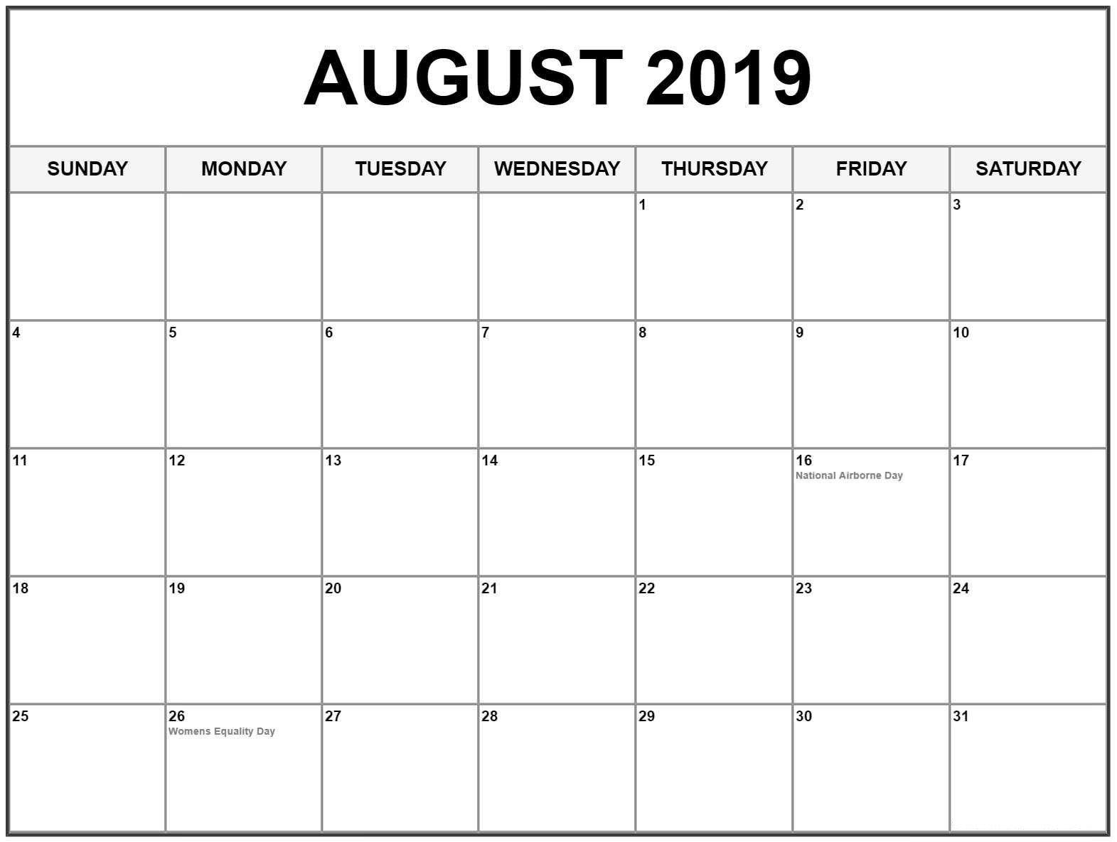 August 2019 Calendar With Holidays Usa, Canada | August