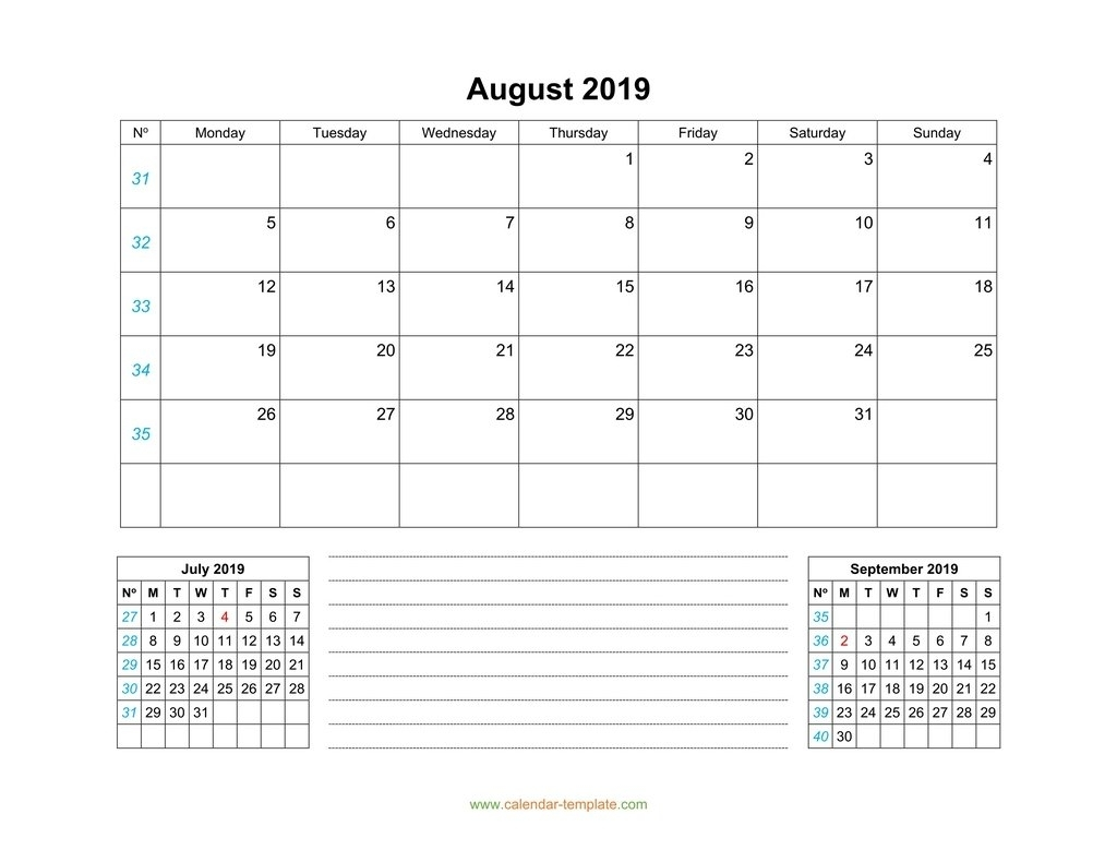 August 2019 Calendar With Previous And Next Month (Bottom)