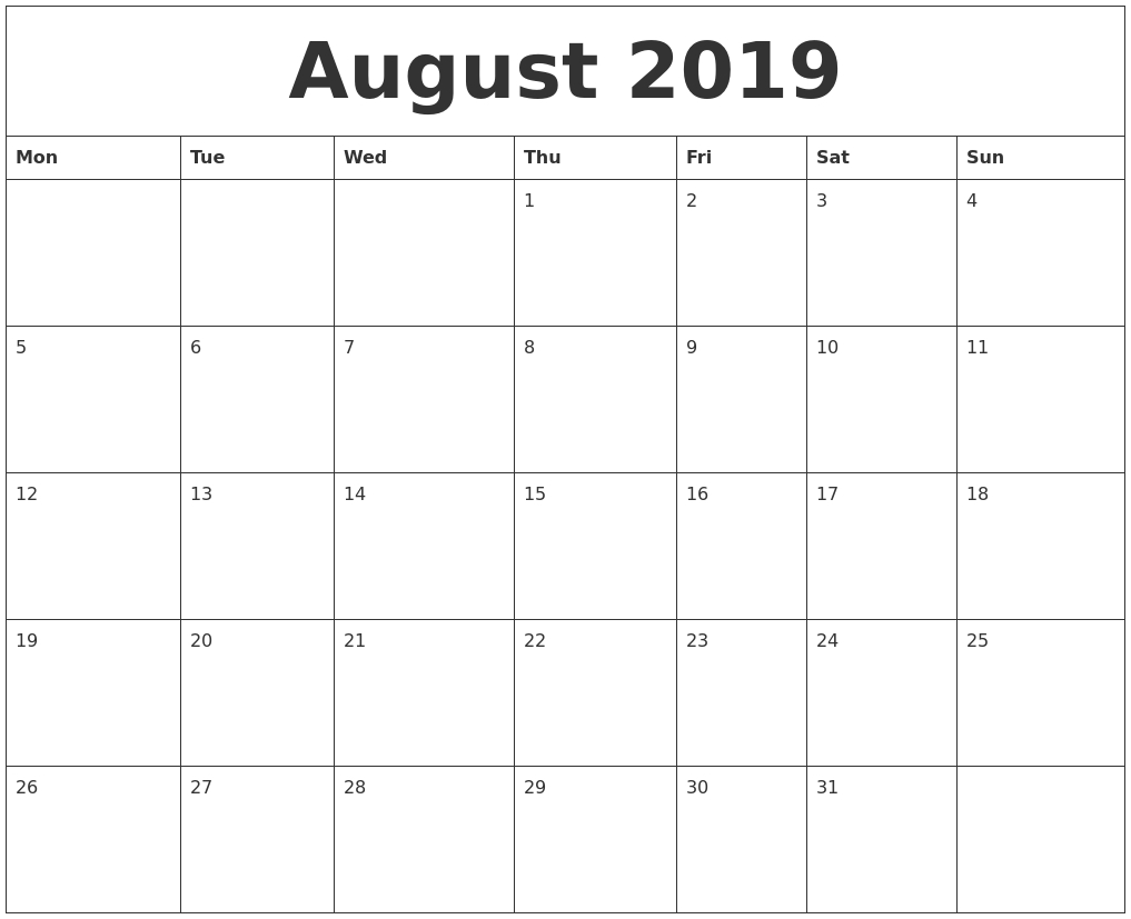 August 2019 Large Printable Calendar