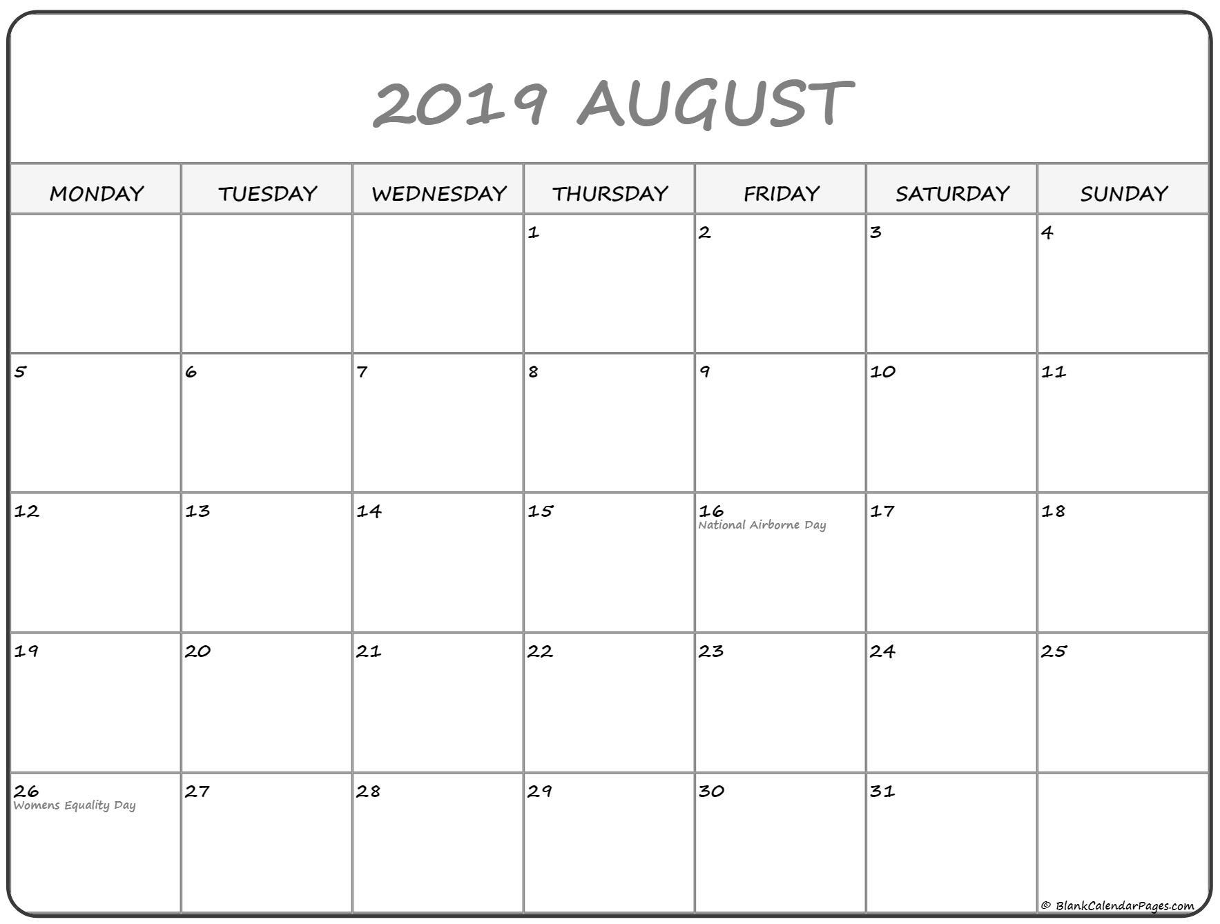 August 2019 Monday Calendar | Monday To Sunday