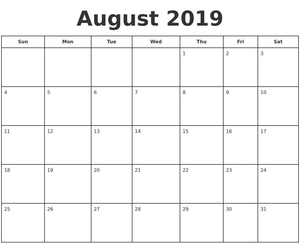 August 2019 Print A Calendar