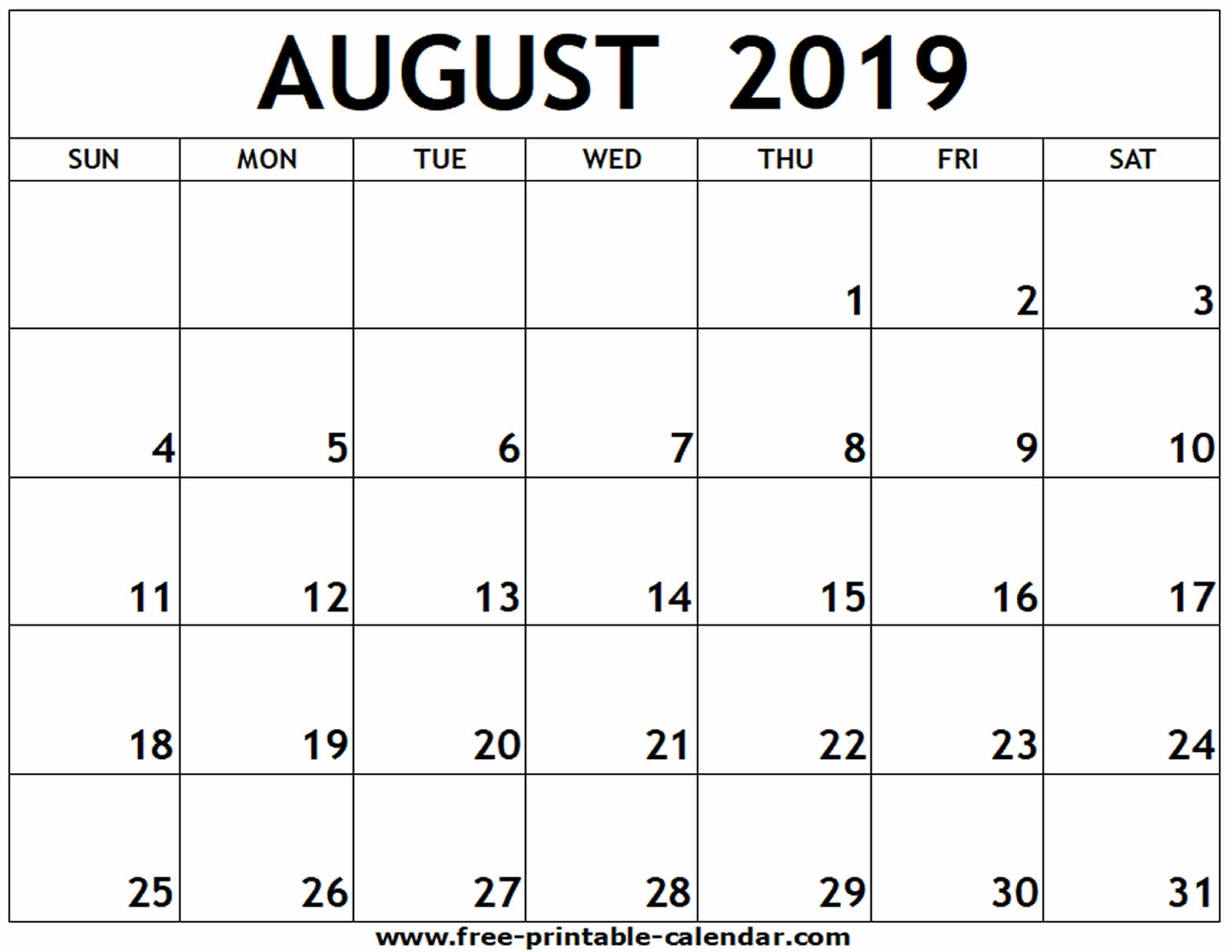August 2019 Printable Calendar - Free-Printable-Calendar