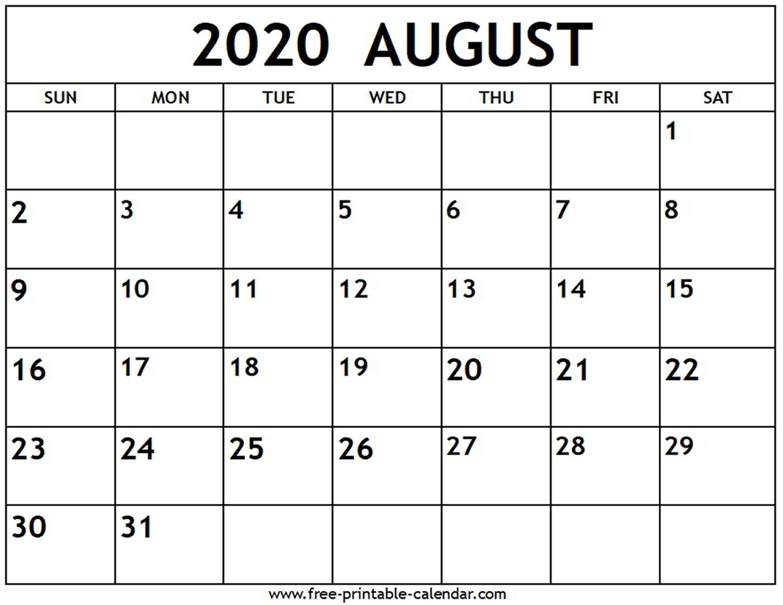 Free Printable Calendar June July August 2020