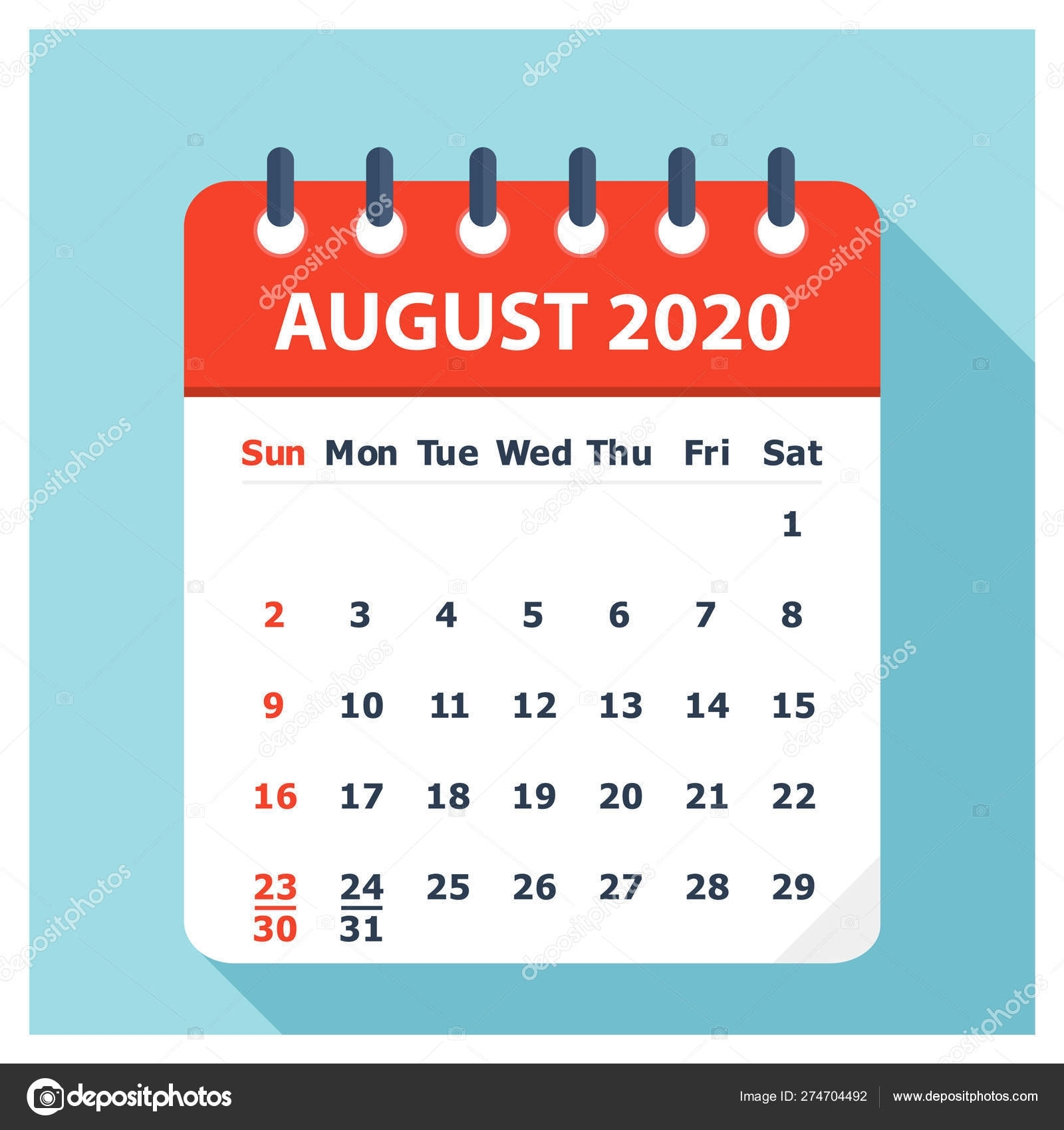 August 2020 - Calendar Icon - Calendar Design Template