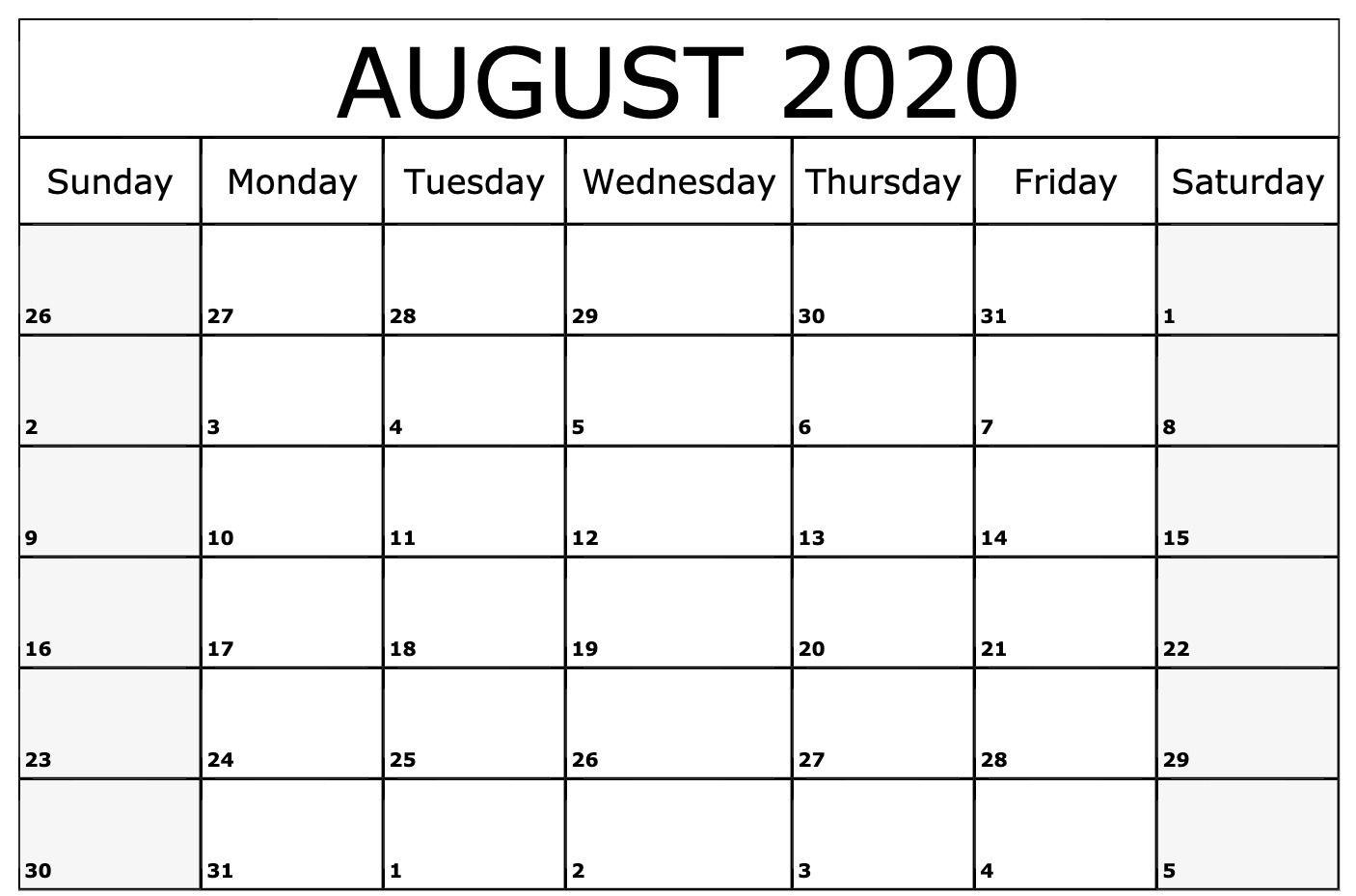 August 2020 Calendar Template | Printable Calendar Template
