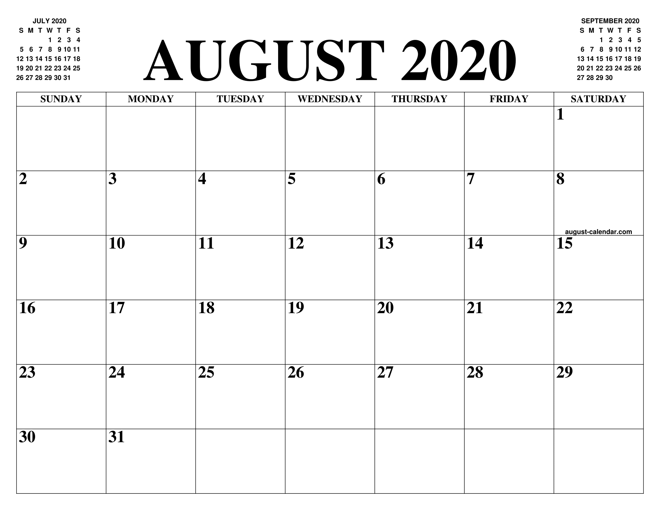 August 2020 Calendar Word Doc - Printable Calendar 2019