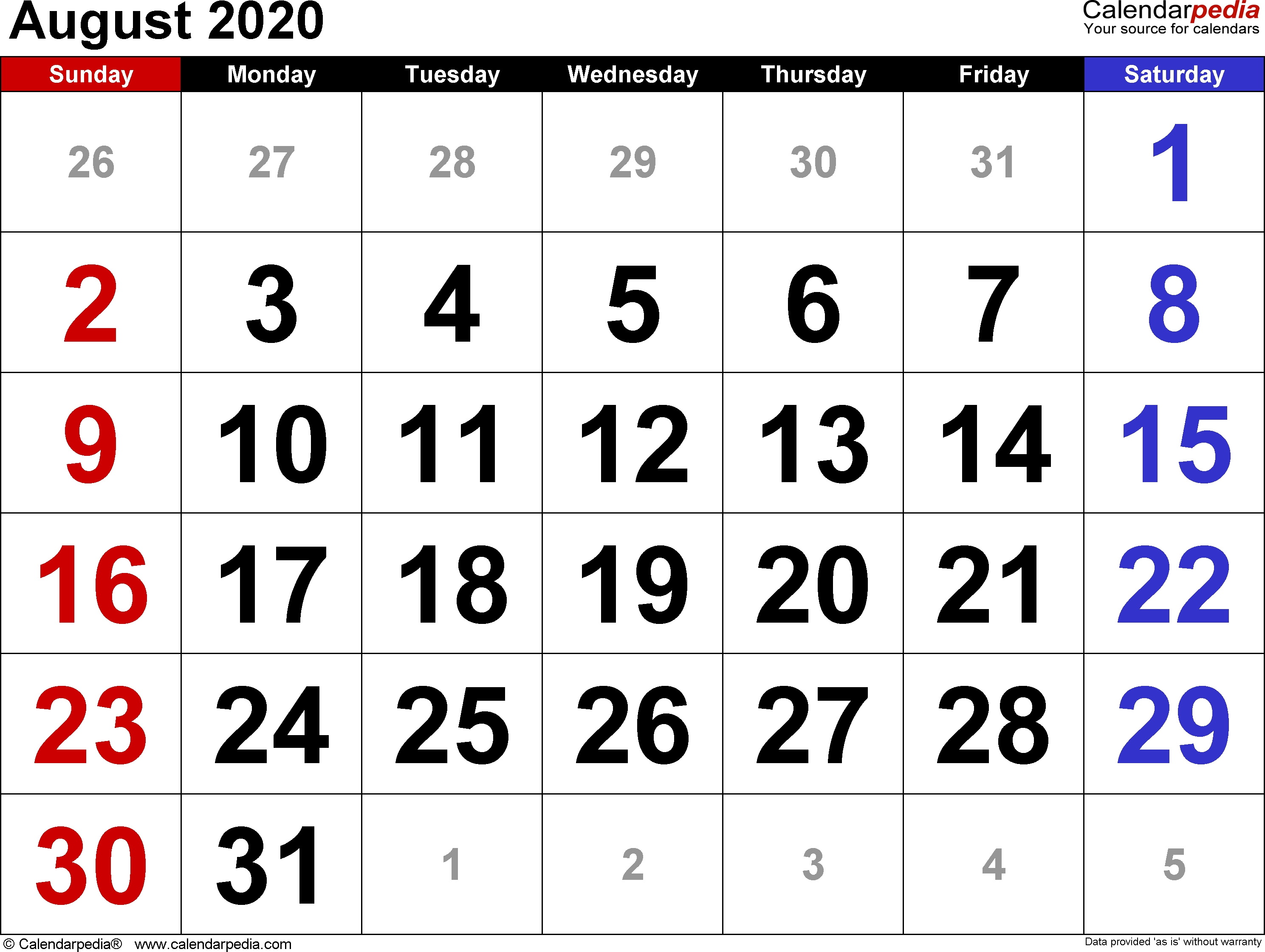 August 2020 Calendars For Word, Excel & Pdf