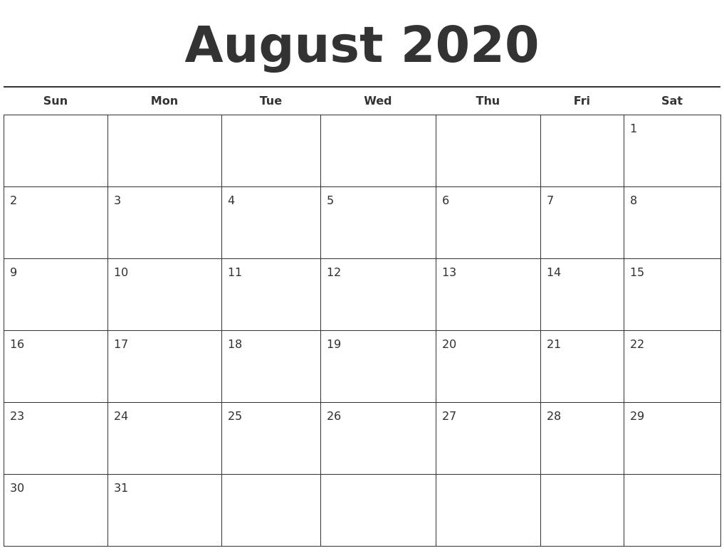 August 2020 Free Calendar Template