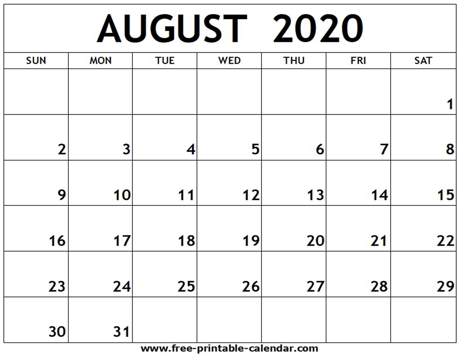 August 2020 Printable Calendar - Free-Printable-Calendar