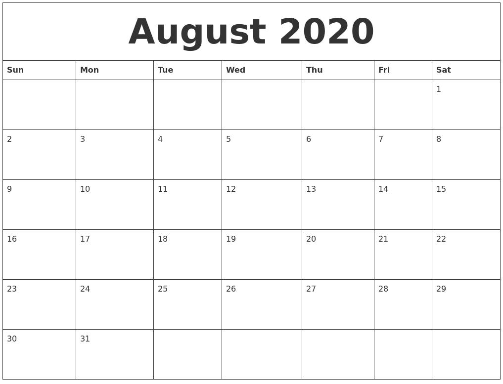 August 2020 Word Calendar