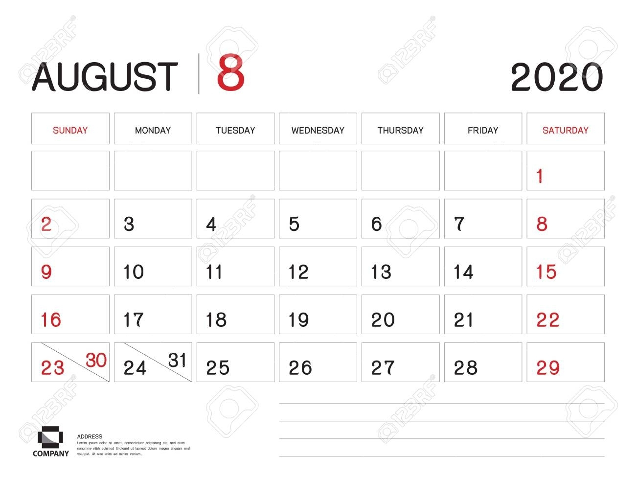 August 2020 Year Template, Calendar 2020, Desk Calendar Design,..