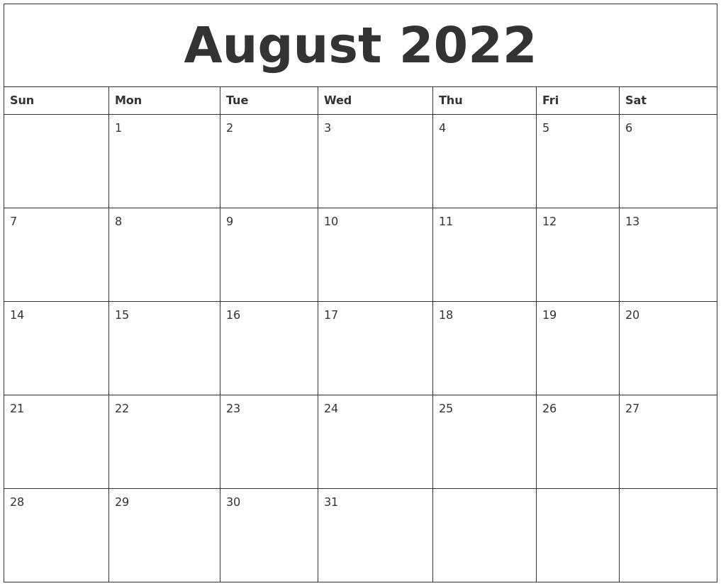 August 2022 Online Printable Calendar