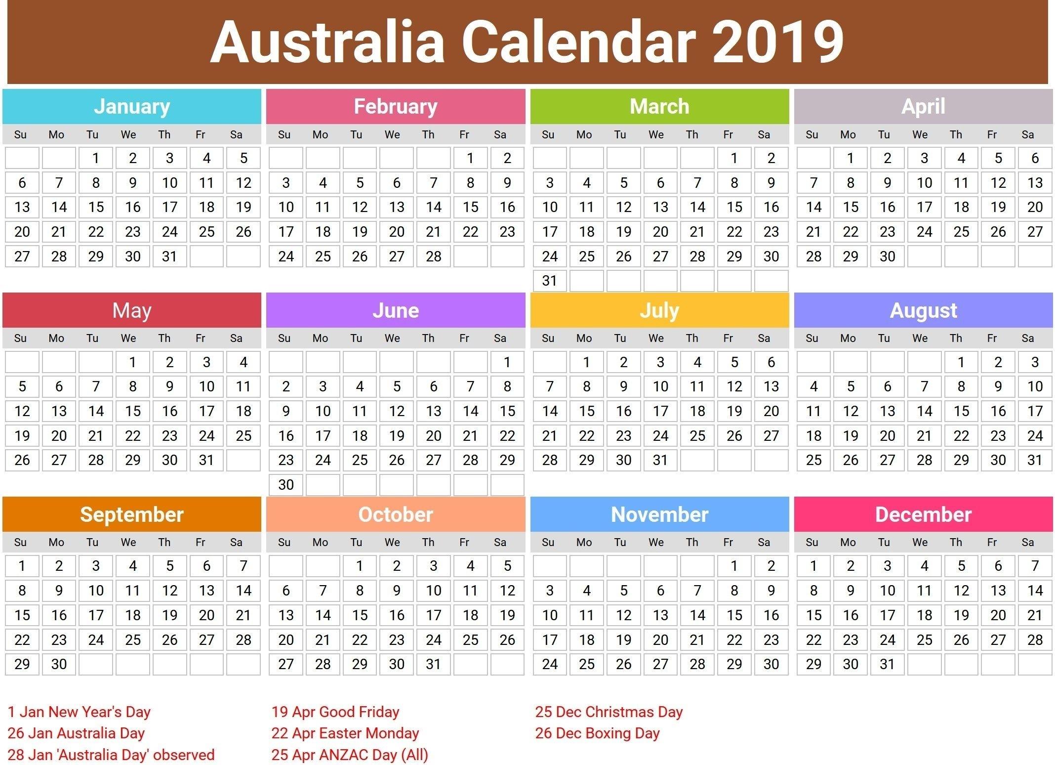 Australia 2019 Calendar With Holidays   Printable Calendar