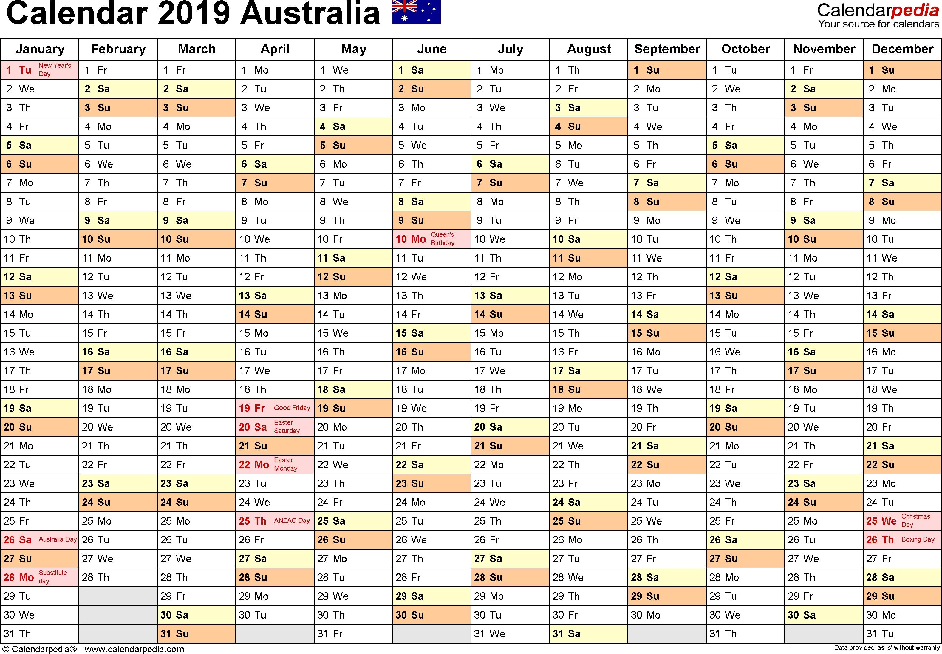 Australia Calendar 2019 - Free Printable Pdf Templates