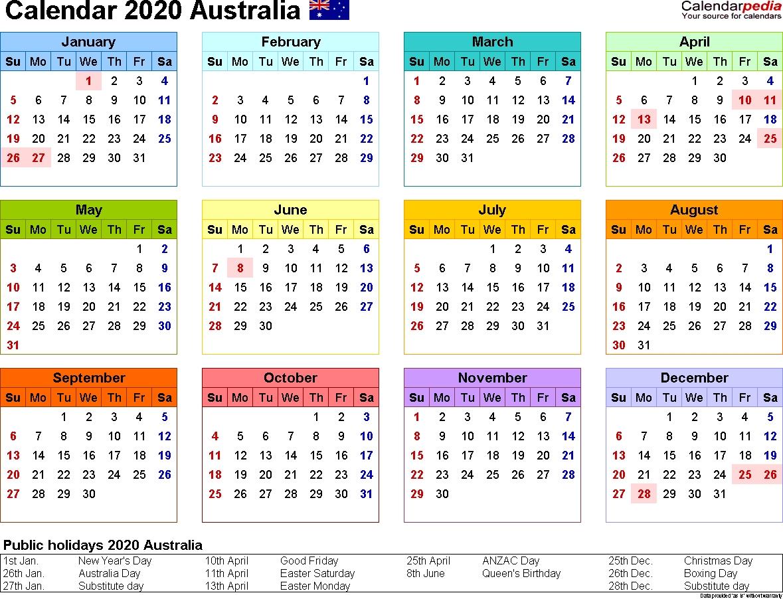 Calendar 2020 Excel Australia