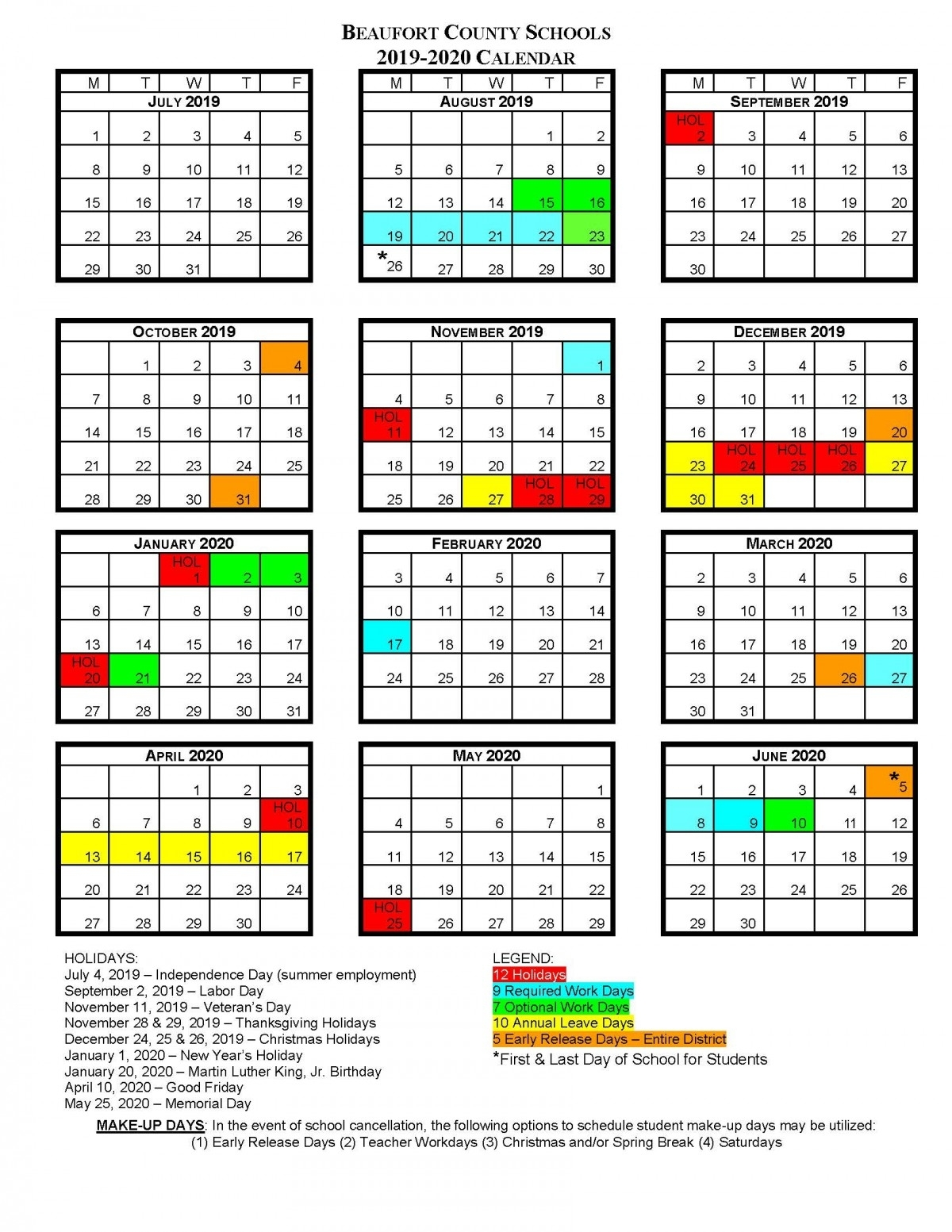 Bcs School Calendars | Beaufort County Schools