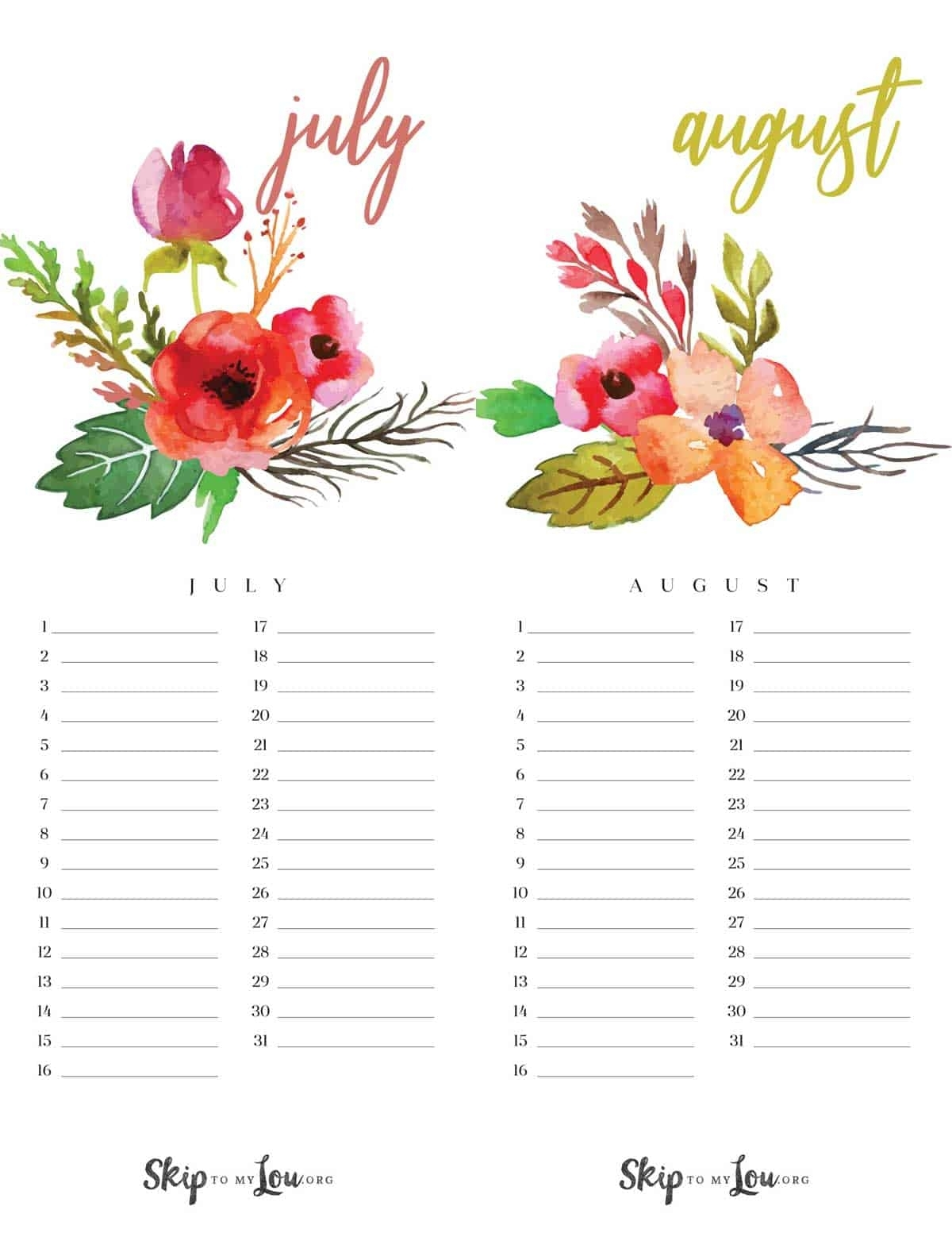 Beautiful 2019 Printable Calendar (Free Download) Updated